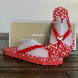 Michael Kors Flip Flop PVC Stacked Logo Mandarin